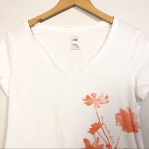 The North Face White V Neck Orange Flowers Tee Md